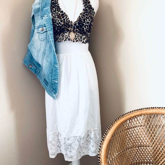 Vintage nylon lace skirt slip with flowers